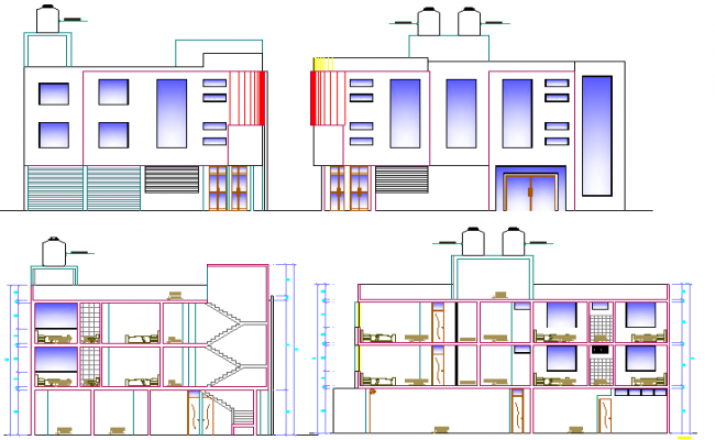 Elevation and sectional view of three flooring bungalow design dwg file