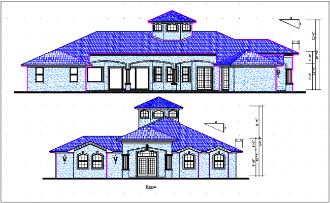 Elevation and side elevation view of bungalow detail dwg file