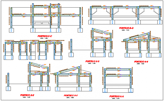 Elevation and side view of construction detail of initial school dwg file