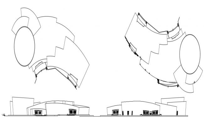 Elevation and terrace plan 2d CAD drawings details of commerce hub dwg file