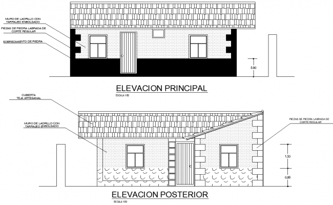 Elevation architecture plan family housing autocad file