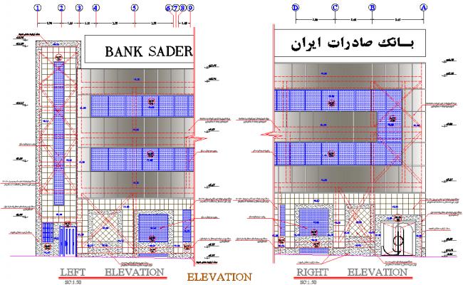 Elevation bank detail dwg file