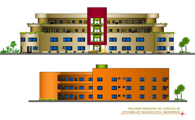Elevation building multi plan detail dwg file