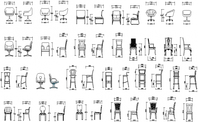 Free Office Chair Elevation In AutoCAD Drawings