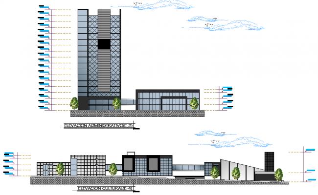 Elevation civic center plan autocad file