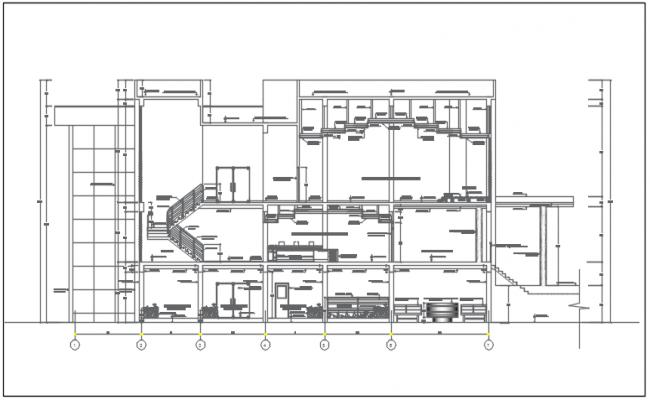 Elevation commercial plan detail dwg file
