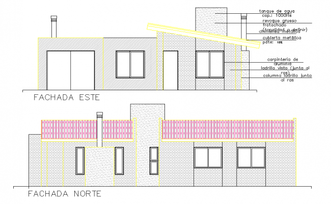 Elevation cottage plan autocad file