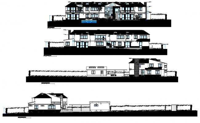 Elevation cottage plan detail dwg file