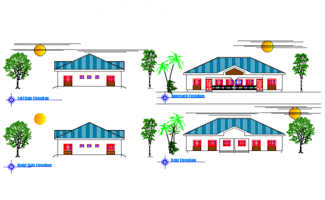 Elevation department with two rooms layout file