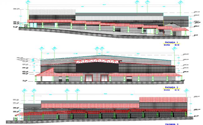 Elevation design building Project dwg file