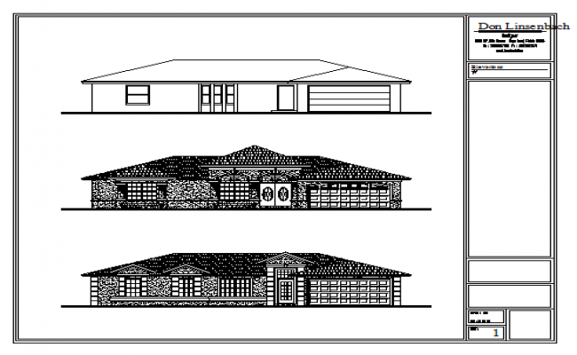 Elevation design drawing of Bungalow design drawing