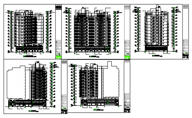 Elevation design drawing of Flat design drawing