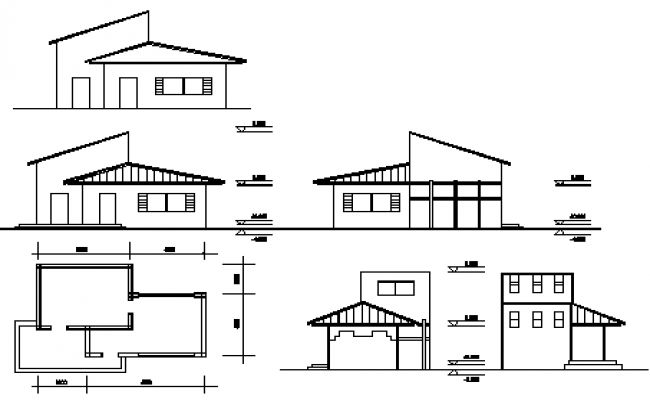 Elevation design drawing of House design drawing