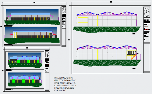 Elevation design drawing of Industrial warehouse design