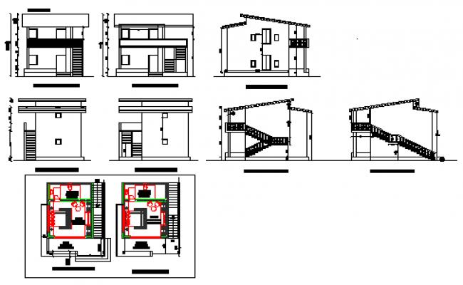 Elevation design drawing of Single cottage design drawing