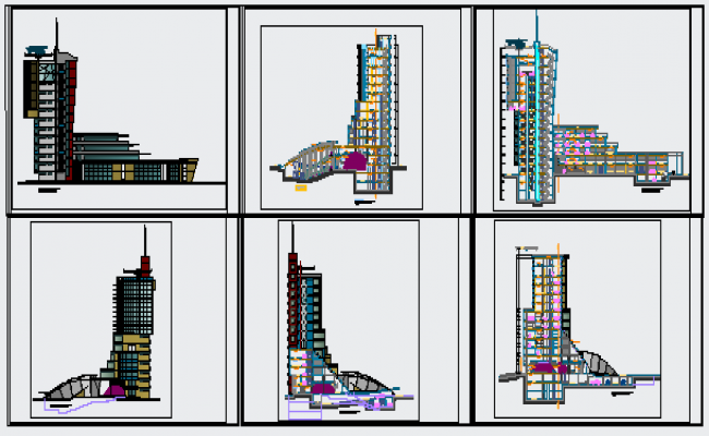 Elevation design drawing of high rise building design drawing