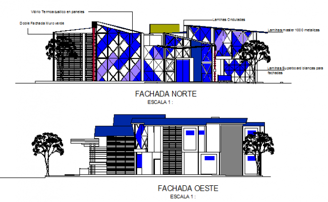 Elevation design drawing of ophthalmologist prevention center design drawing