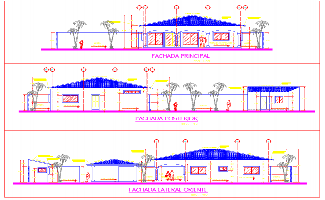 Elevation design of Beach House plan dwg file