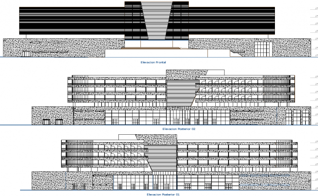 Elevation design of Building dwg file