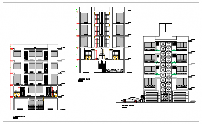 Elevation design of Multi family housing design drawing