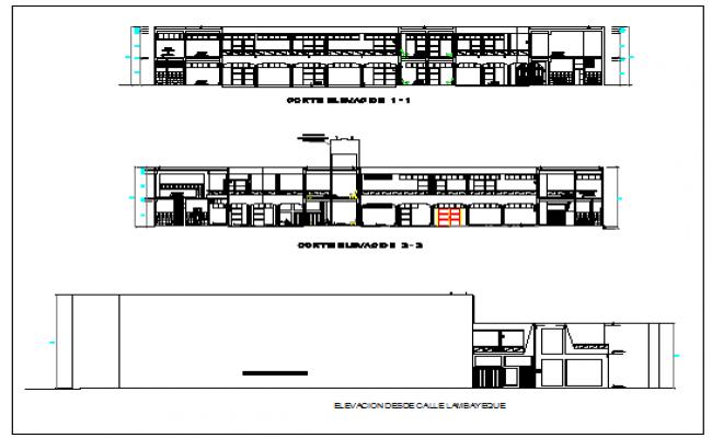 Elevation design of School of music design drawing