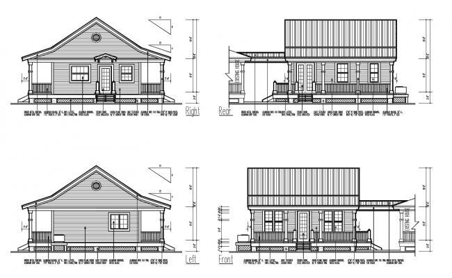 House Elevation Design In AutoCAD File