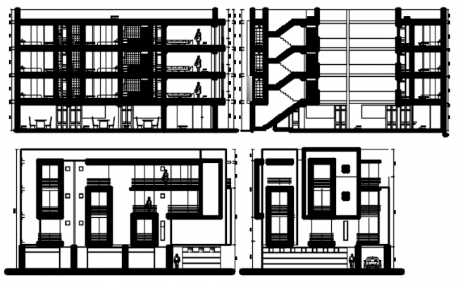 Download Free Residential Building Elevation Design In AutoCAD File