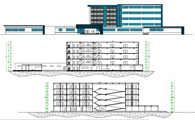 Elevation design of clinic building in AutoCAD