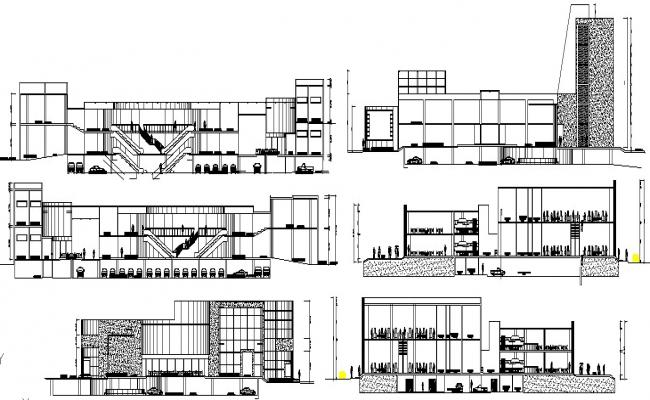 Shopping Mall Elevation In DWG File