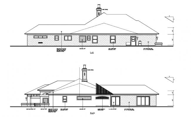 Single Storey House Elevation In AutoCAD File