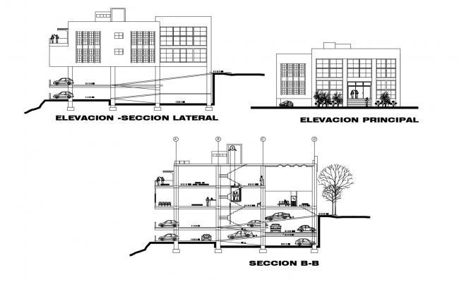 Office elevation design in AutoCAD file
