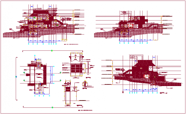 Elevation design view of bungalows with door detail dwg file