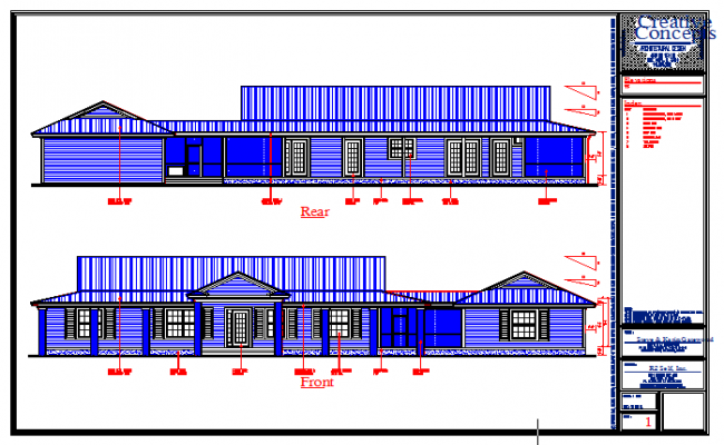 Elevation detail in dwg file