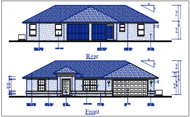 Elevation detail of the Front & rear elevation view,  bungalow dwg file