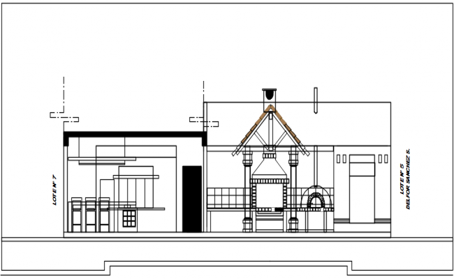 Elevation detail of the ground floor commercial building plan detail dwg file