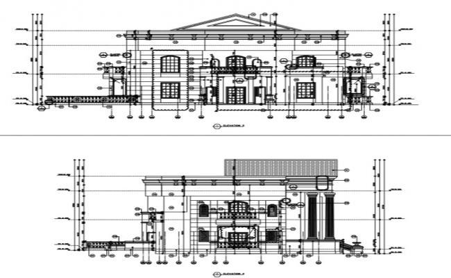 Elevation detail of villa.