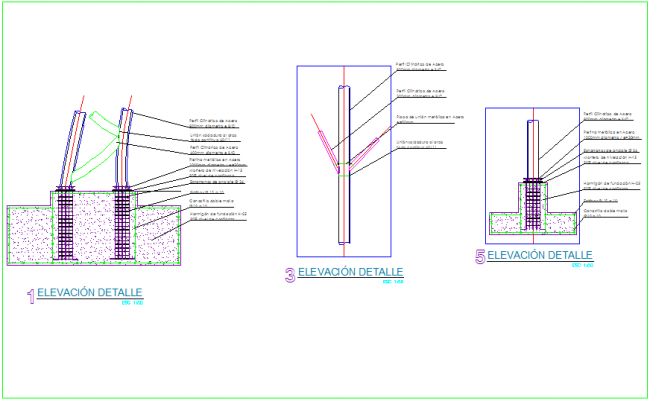 Elevation detail view for steel structure dwg file