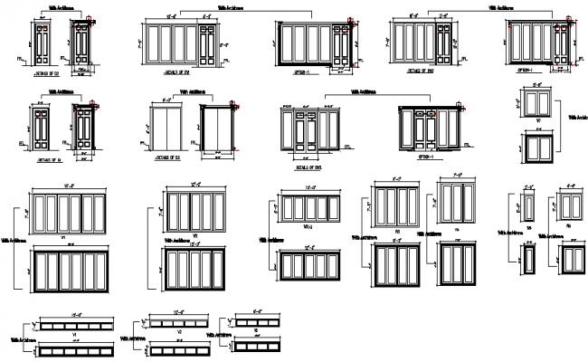 Elevation door framing architect design detail dwg file