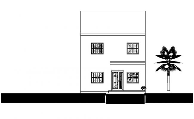 Elevation drawing of  2 storey house in autocad