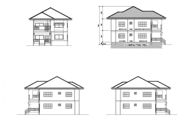 Elevation Drawing Of 2 Storey House In Dwg File