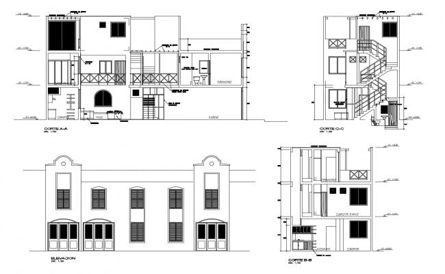 Elevation drawing of 2 storey house with detail dimension in