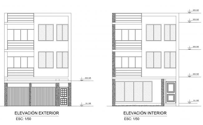 Elevation drawing of 3 storey house in dwg file