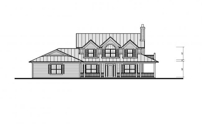 Elevation drawing of a bungalow with detail dimension in dwg file