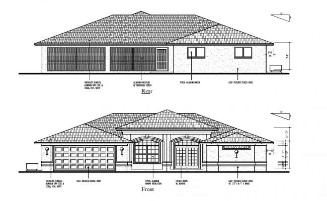 Elevation drawing of a house with detail dimension in dwg file