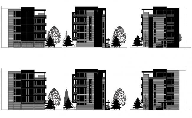 Elevation drawing of a residential apartment in AutoCAD