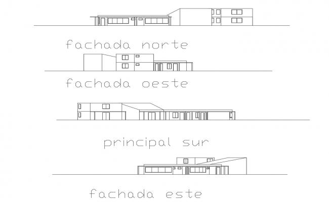 Elevation drawing of building with detail dimension in dwg file