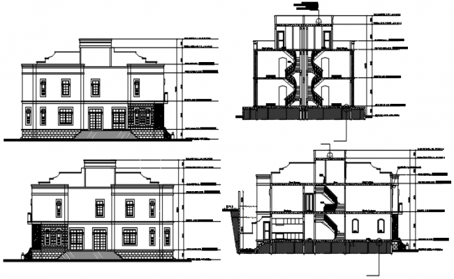 Elevation drawing of bungalow design in dwg file