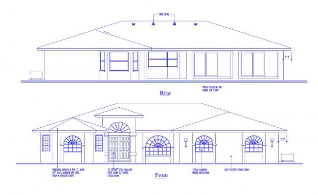 Elevation drawing of bungalow in dwg file