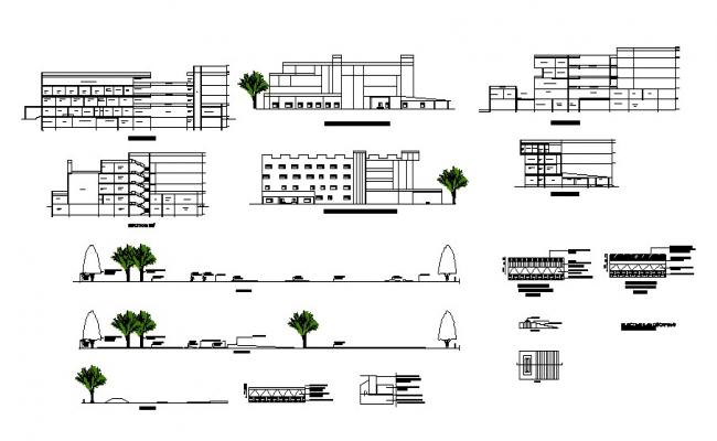 Elevation drawing of eye hospital with landscaping details in dwg file