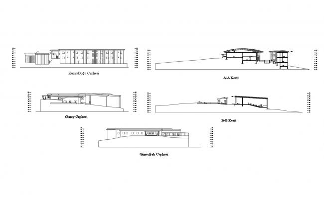 Elevation drawing of house design in AutoCAD